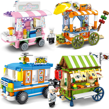 City Street View Compatible Legoings Friends Creator Ice Cream Truck Food Store Buildings Blocks Educational Toys For Children