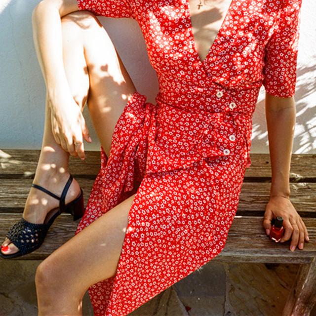 Floral Printed Women V-neck Summer Dress 2018 Rouje Vintage Buttons Women Beach Dress Lace-up Femme Tea Dress cwd0177-5