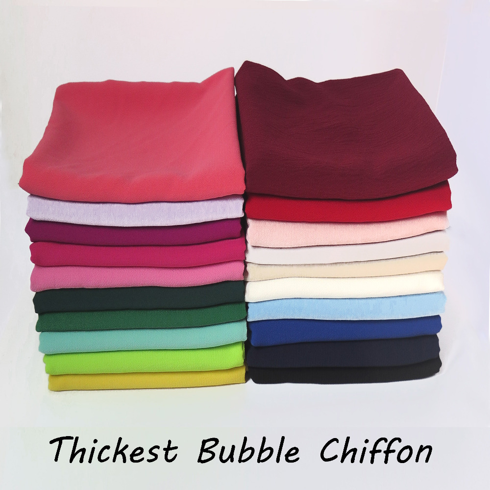 10pcs/lot High Quality Thicker Bubble Chiffon Muslim Hijab Women's Scarf Shawl Head Wrap 180*75cm