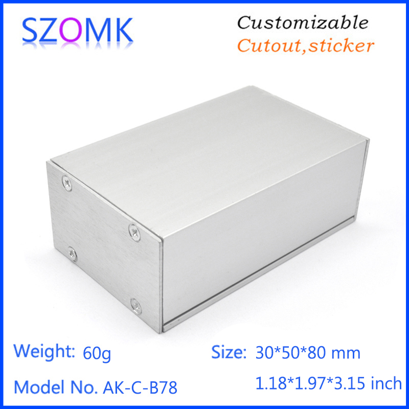 one piece DIY aluminum junction box enclosure for electrical apparatus hardware and metal detector 82*50*30mm 1 piece free shipping smooth surface aluminum color aluminium metal junction box for electronics pcb board design 38x150x155mm