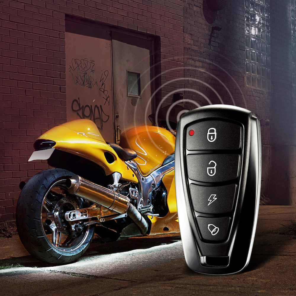 986F 1 Way Motorcycle Alarm System Engine Immobilization Remote Engine Start with Two Transmitter