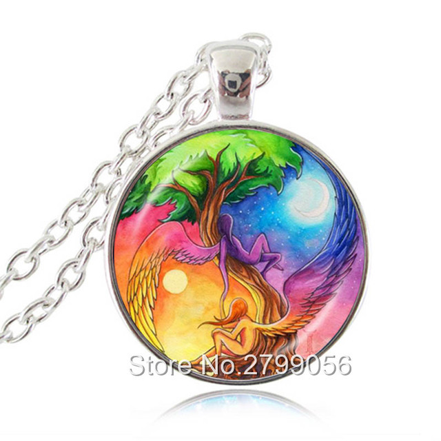 US $9 95 17% OFF|Reiki Angel Necklace Tree of Life Pendant Sun and Moon  Ying Yang Jewelry Glass Cabochon Silver Long Chain Statement Necklace-in