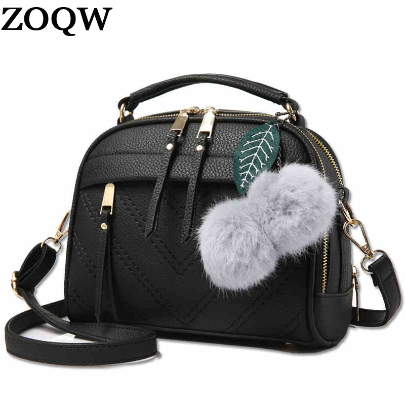 New Fashion 2016 PU Leather Bags For Women Black Faux Fur Ball Handbags Crossbody Bag Female Shoulder Bags Women Hot Sale LX451  Сумка