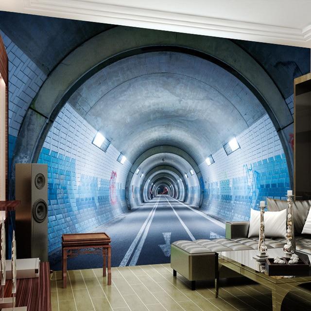 Benutzerdefinierte Jeder Größe Moderne Abstrakte Kunst 3D Unterirdischen  Tunnel Wandmalerei Wohnzimmer Schlafzimmer Sofa TV Hintergrund Wandtapete