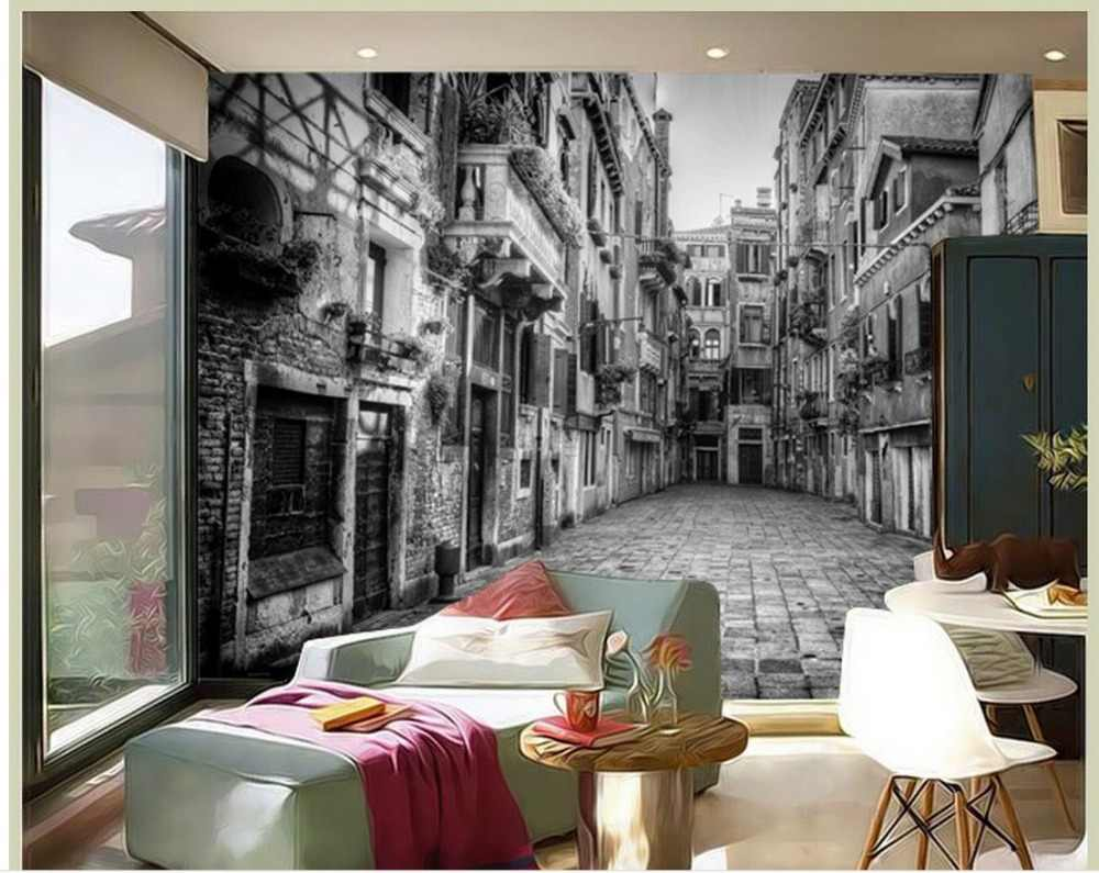 High Quality Customize size Modern white and black building 3d wall murals wallpaper custom curtains