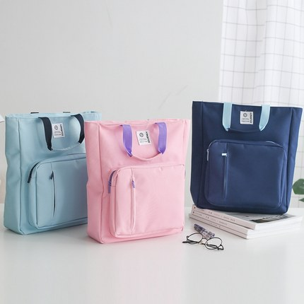 Outdoor Portable Document Bag Multifuncitonal Zipper Bag Canvas Cloth A4 Paper Organizer File Bag Book Carry Bag