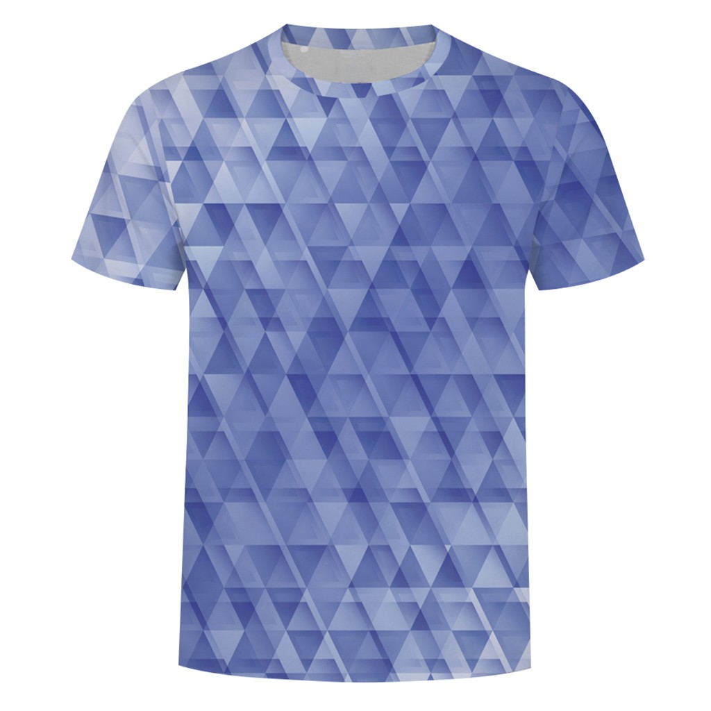 ISHOWTIENDA Fashion Mens Breathable Splash-ink 3D Printing Tees Shirt Short Sleeve Casual Pattern gradient Printed clothing