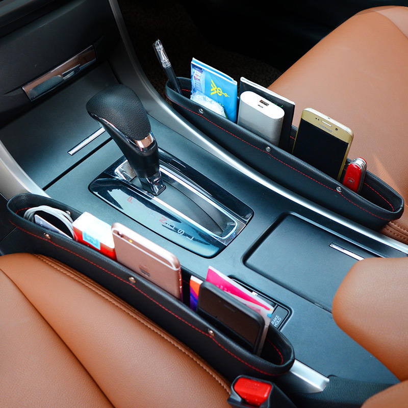 Car Storage Box Car Seat Gap Filling Pocket PU Leather Catcher Box Seat Side Pocket Can Store Phone Keys And Other Accessories