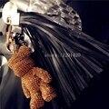 Piel de Cordero de lujo de la borla de oro rhinestone oso bolso monedero de los encantos llaveros coche llavero llaveros accesorios cuerda de cuero