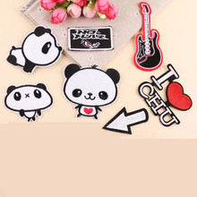 The Panda Embroidery Patch for Clothing Iron On Patches Embroidered Sew Fabric Badge Garment DIY Apparel Applique Accessories round natural embroidery patch for clothing iron on embroidered fabric badge motif garment diy apparel applique accessories