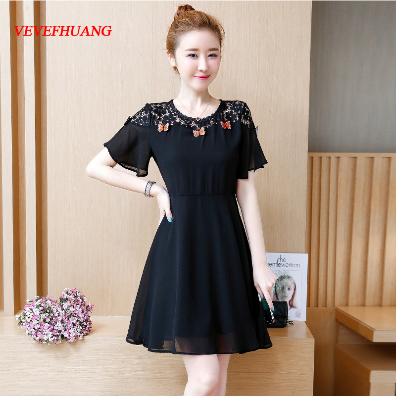 2018 Plus Size New Summer Women dress Short Sleeve Patchwork Lace Chiffon Loose Big Pendulum Dresses Black L0893