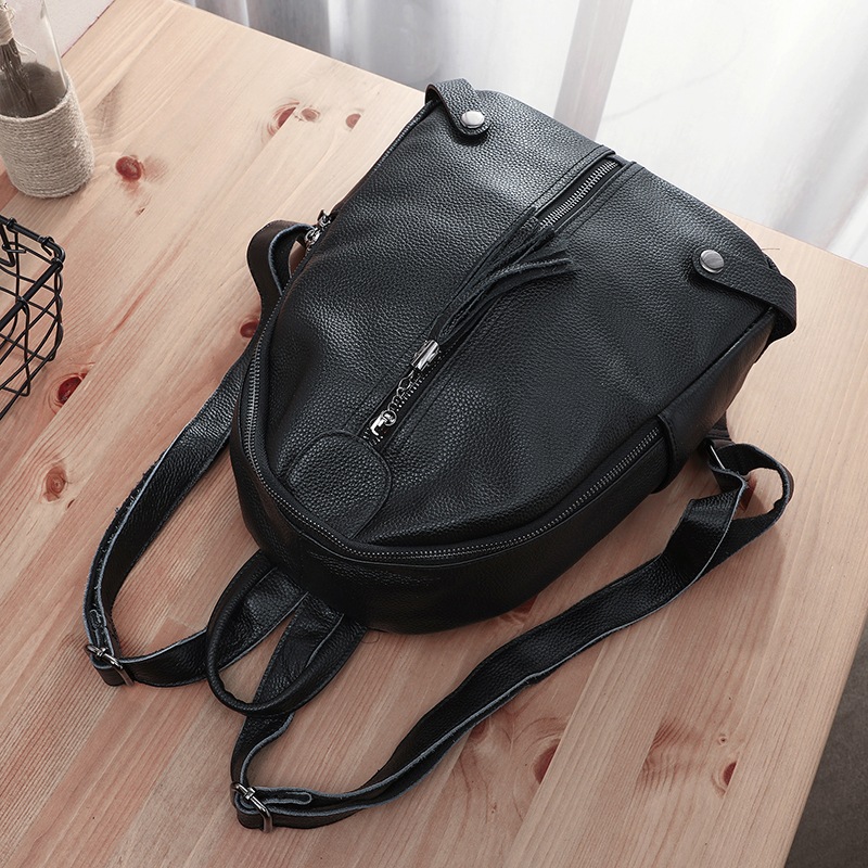 BAQI Women Backpacks High Quality Genuine Leather Cowhide School Bag Youth Girls 2019 Fashion Lady Shoulder Bag Bagpack Mochila in Backpacks from Luggage Bags