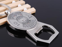 Perpetual 50 Year Calendar Bottle Open Beer 2010-2060 Alloy Keyring Classic 3D Pendant KeyChain Creative Gift
