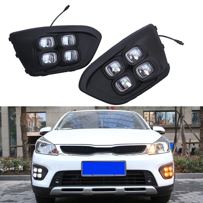 For Russia KIA RIO X-Line 2018 Car Light LED Day Lamp Highlight Auto Driving Daytime Running Lights DRL Accessories Car-styling akd car styling led drl for kia k2 2012 2014 new rio eye brow light led external lamp signal parking accessories