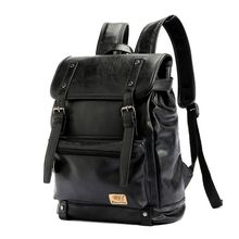 Retro PU Leather Backpacks Outdoor Travel Rucksack School Shoulder Bag Laptop Bookbag for Men