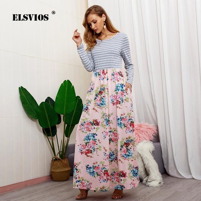 041259c2cc ELSVIOS Women Floral Print Patchwork Boho Long Dress Casual Striped Long  Sleeve Autumn Dress Ladies Elegant