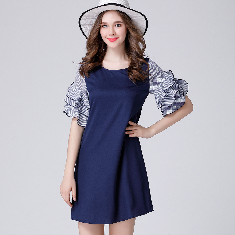 US $17.1 |Summer clearance sweet Butterfly Sleeve Loose Show thin Short  Dress Mini dress Fat MM plus size women\'s wear XL to 5xl-in Dresses from ...