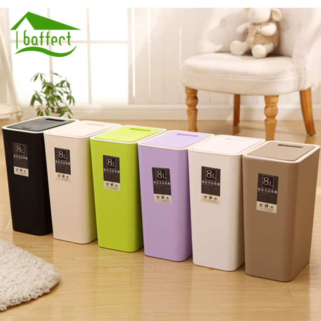Creative Fashion Plastic Trash Can 8l 12l Pressing Cover Type Kitchen Waste Bin Sitting Room