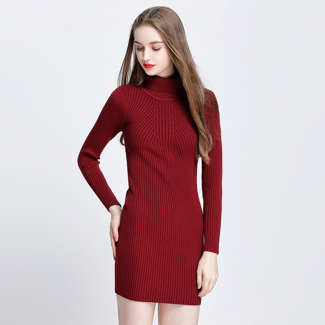 2a0a511fa544 Fashion Sweater Dresses For Women Autumn Winter Thicken Long Sleeve High  Neck Primer Dress Soft Cable Knit Dress Cheap Knitwear