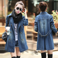 Vintage Slim Jeans Denim Jackets For Women 2018 Maxi Spring Autumn Casual Wild Outwear Coats Female Long Sleeve Demin Jackets