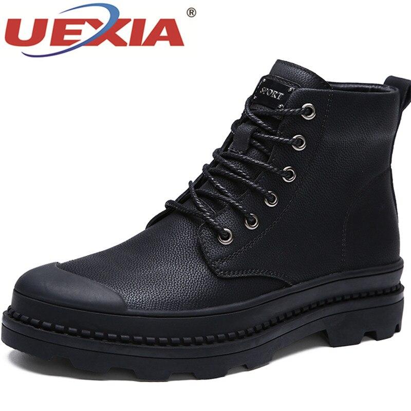 UEXIA Winter Warm Men Snow Boots Casual Slip On Men Shoes Hard-Wearing Non-Slip Plush Snow Boots Fur Men Shoes Big Size 46 47