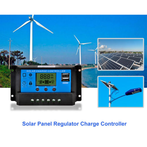 Free shipping 30A Auto work Solar Charge Controller PWM with LCD Dual USB 5V Output Solar Cell Panel Charger Regulator PV Home