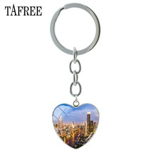 TAFREE The Mei Nan River View Keychains Beautiful Famous Night Scenery Heart Pendant Key Chain bag Pendant galss Jewelry FA495(China)