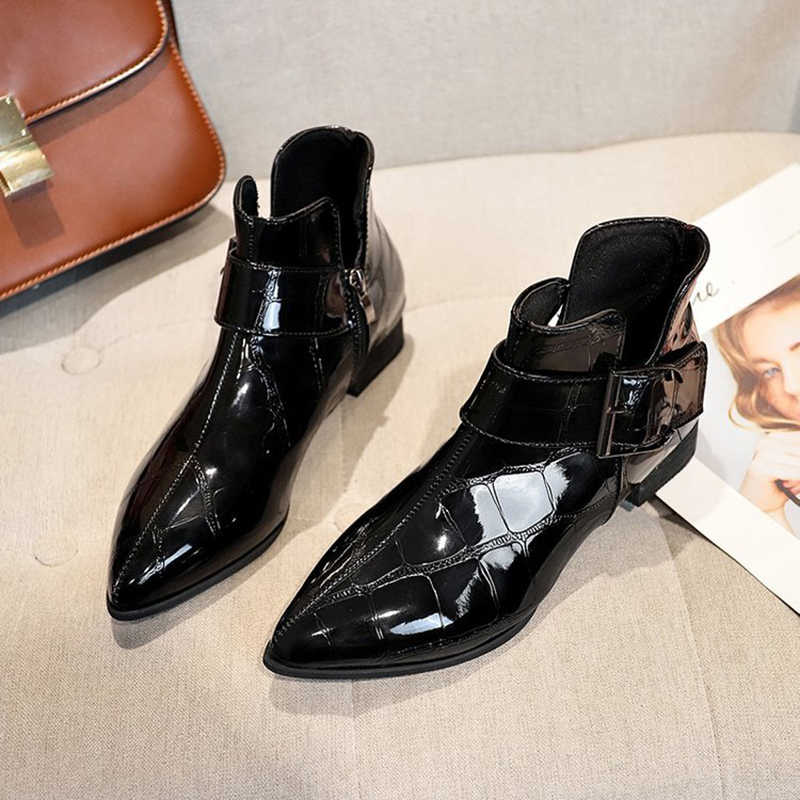 f691b1aaf Small Leather shoes retro pointed toe loafers comfort low heels flat  platform espadrilles buckle zipper plaid