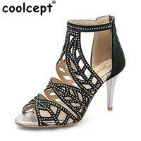 Coolcept Size 31 43 Sexy Women High Heel Sandals Open Toe Beading Thin Heels Sandals Summer