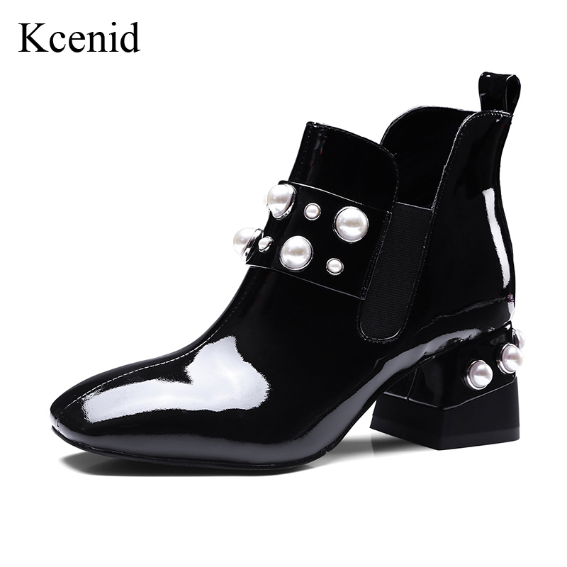 Kcenid Women genuine leather ankle boots fashion square toe pearls heel shoes woman elastic band autumn