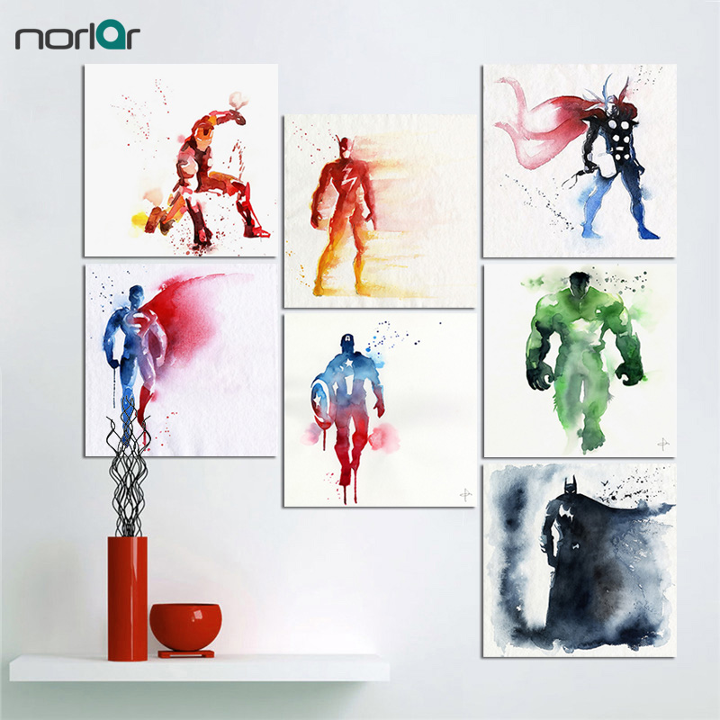 Original Watercolor Superhero Avenger Movie Poster Print Vintage Hulk Batman Picture Canvas Painting No Frame Home Wall Art Gift