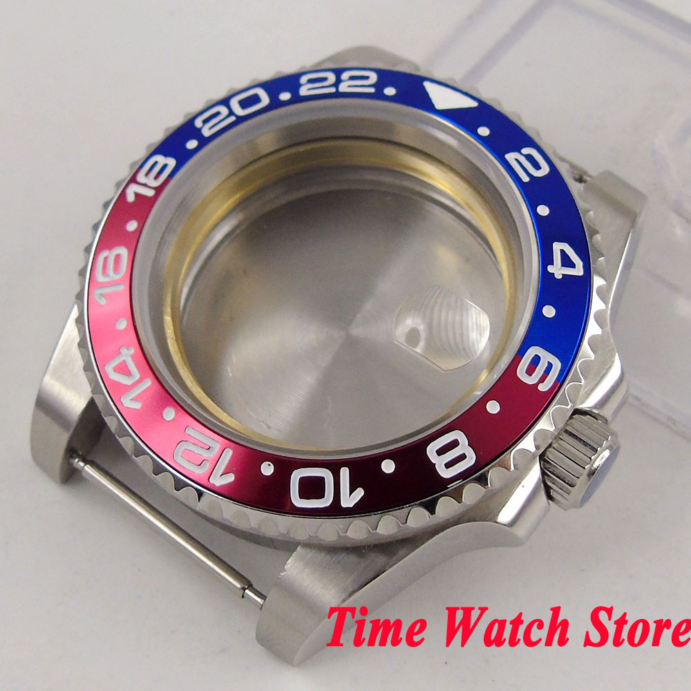 40mm GMT version Sapphire glass blue red bezel 316L stainless steel Watch Case fit Miyota 8215 ETA 2836 movement C28 цена и фото