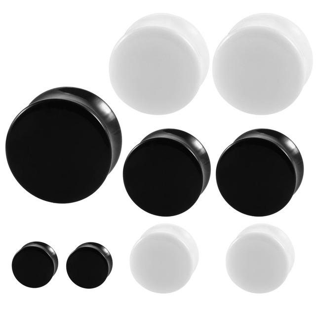 2pcs Acrylic Ear Plugs And Tunnels Black White Simple Earring Gauges Piercing Curved Saddle Expander