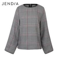 JENDIA Women Elegant Plaid Shirt Houndstooth Split Sleeve O Neck Loose Blouse Vintage Autumn Fashion Casual