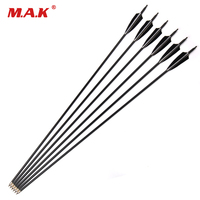 6 12 24 Pcs Carbon Arrow Spine 550 Length 32 Inches 2 Black 1 White Turkeys