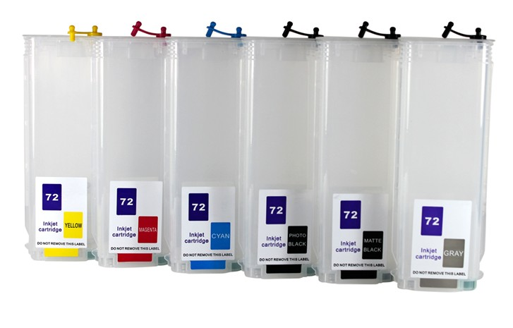 6pcs 130ml <font><b>refillable</b></font> ink cartridge for <font><b>hp</b></font> <font><b>72</b></font> for <font><b>HP</b></font> Designjet T610 T1120 T1200/ps T1300 T2300 T770 T790 printer for hp72 image