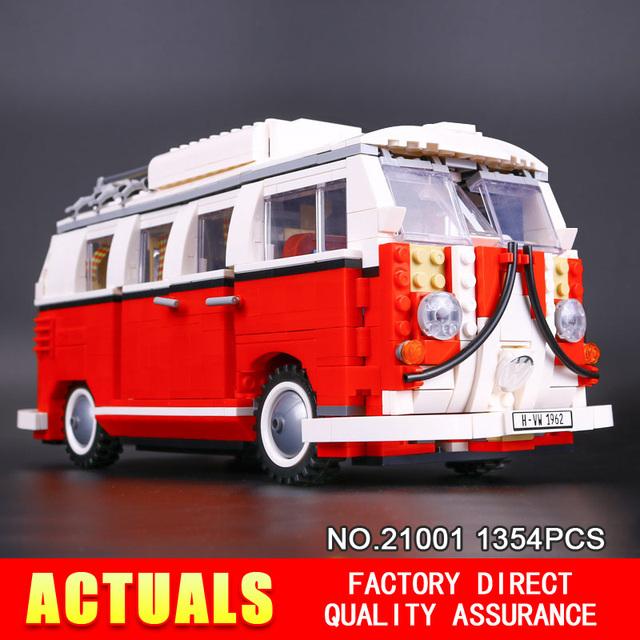 2016 nueva lepin 21001 1354 unids creador volkswagen t1 camper van modelo kits de construcción juguetes de los ladrillos compatible 10220 regalos