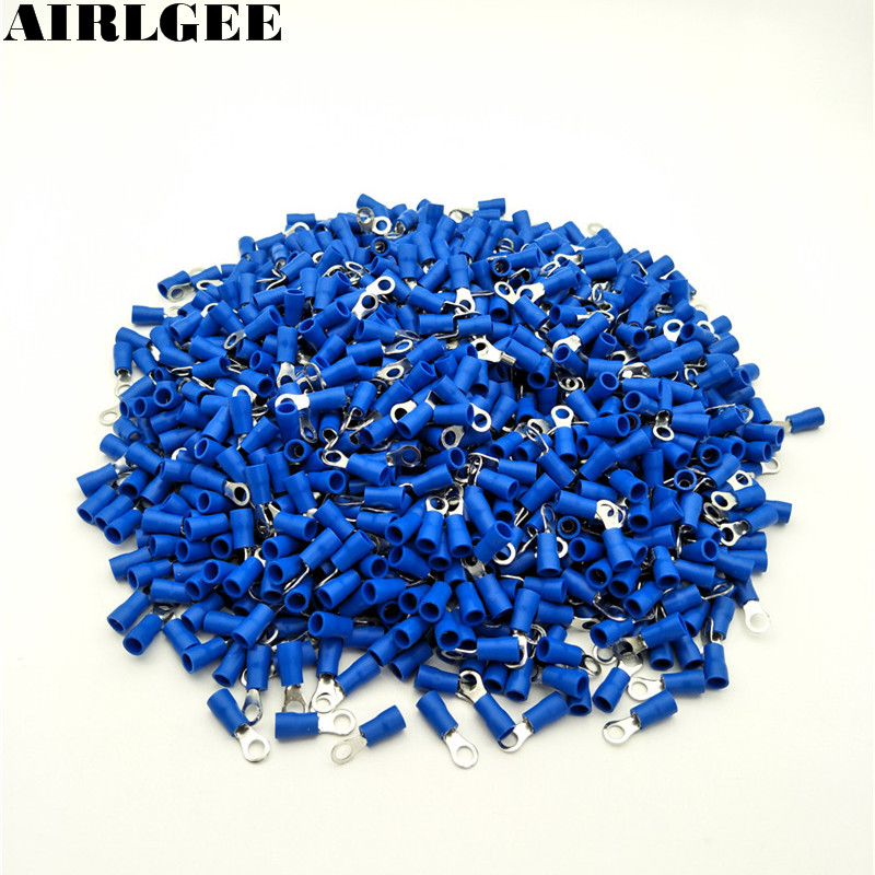 1000 Pcs RV2-4S AWG 16-14 Blue PVC Sleeve Pre Insulated Ring Terminals Connector Free shipping 500 x rv3 5 4 ring tongue type pre insulated terminals black for awg 14 12