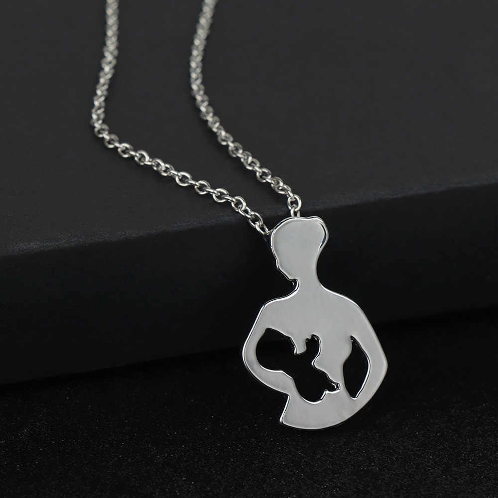 Lactancia madre y bebé collar oro Color plata colgante collares para mujeres creativo madres día regalo amor Maternal