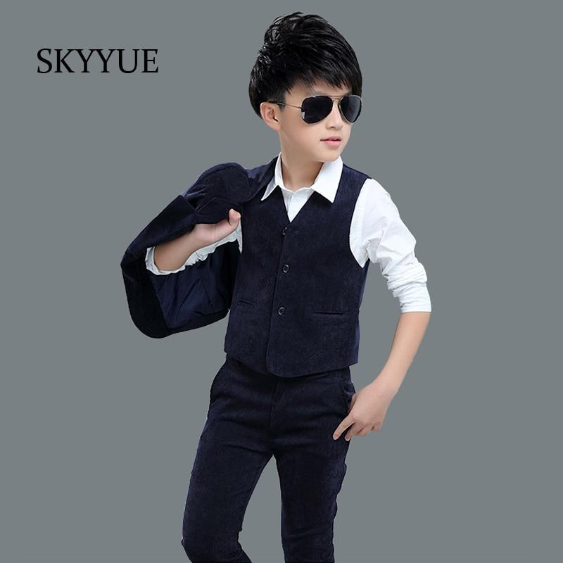 Kids Blazers Baby Boys Suits 2018 Autumn Single Breasted Coats Vest Pants 3Pcs Set Boys Formal Wedding Wear Children Clothing