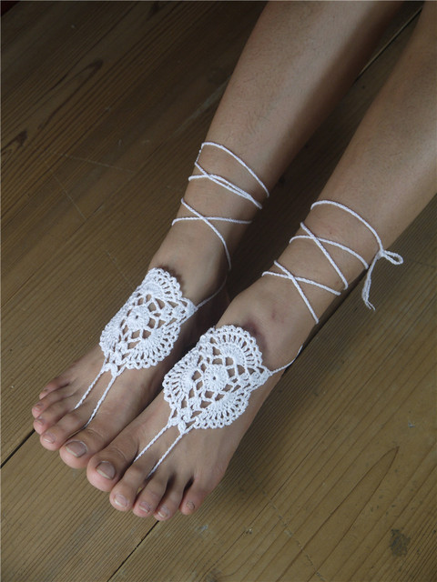 Voorkeur Witte gehaakte op blote voeten sandalen, sexy enkelbandje op blote &VP01