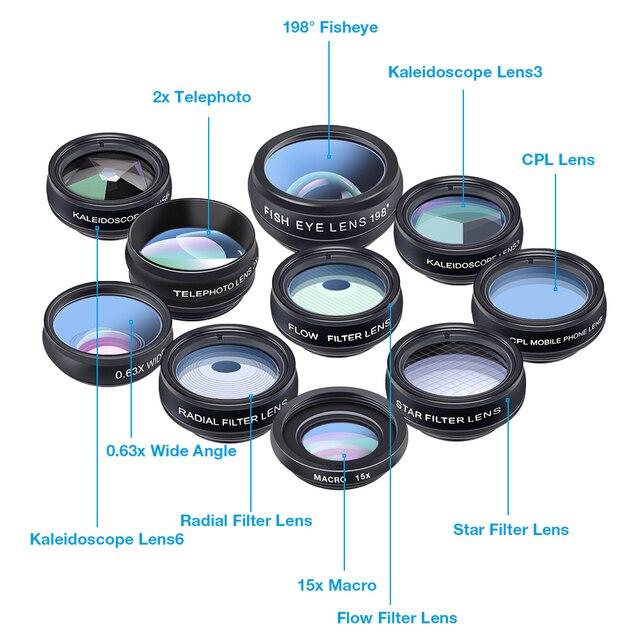 APEXEL Phone lens kit universal 10 in 1 Fisheye Wide Angle macro Lens CPL Filter Kaleidoscope+2X telescope Lens for smartphone 2