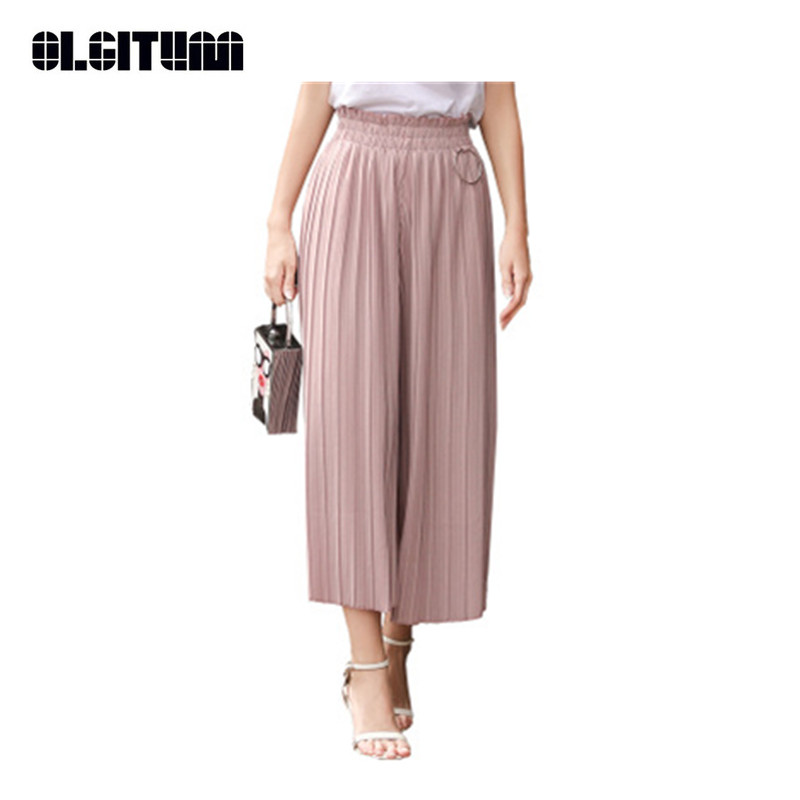 OLGITUM 2018 Summer Women Loose   Wide     Leg     Pants   Chiffon High Waist Fashion   Pants   Casual Solid Broad   Leg     Pants   For Women PT016