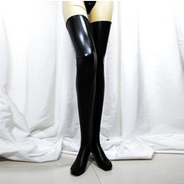 Newest 2019 Women Sexy Black Spandex Thigh High Latex Glam Rock Gothic Wetlook Stockings #2019.7.24