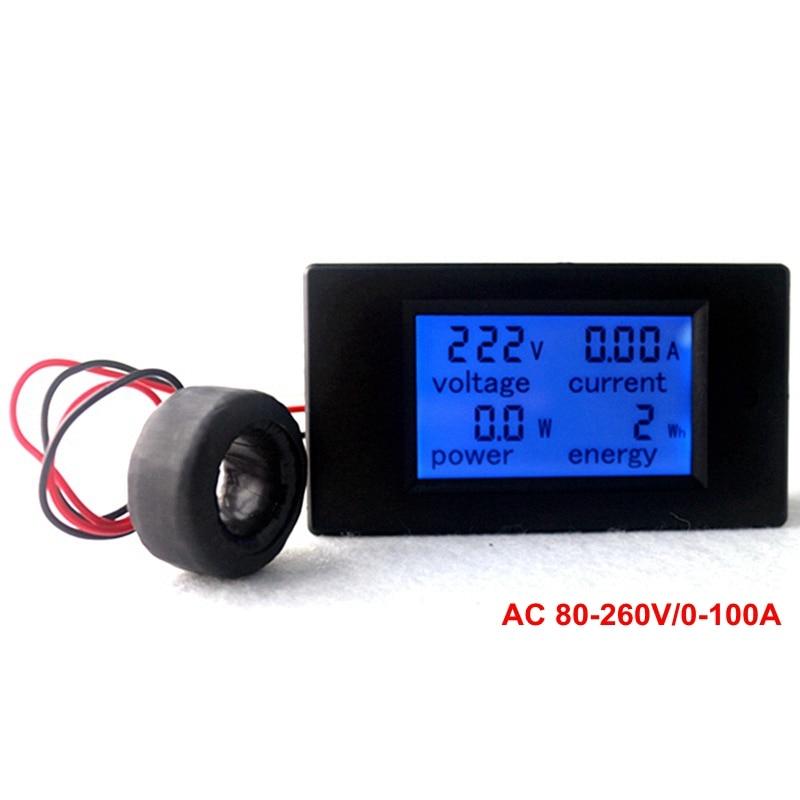 Multifonction AC Voltmètre Compteur D'énergie Moniteur D'alimentation AC 80-260/100A Volt Amp testeur de puissance Voltmètre Ampèremètre Actuel transformateur