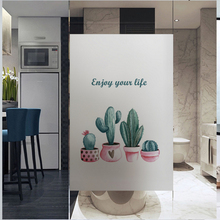 window glass stickers Electrostatic scrub Nordic cactus plant film warm transparent opaque