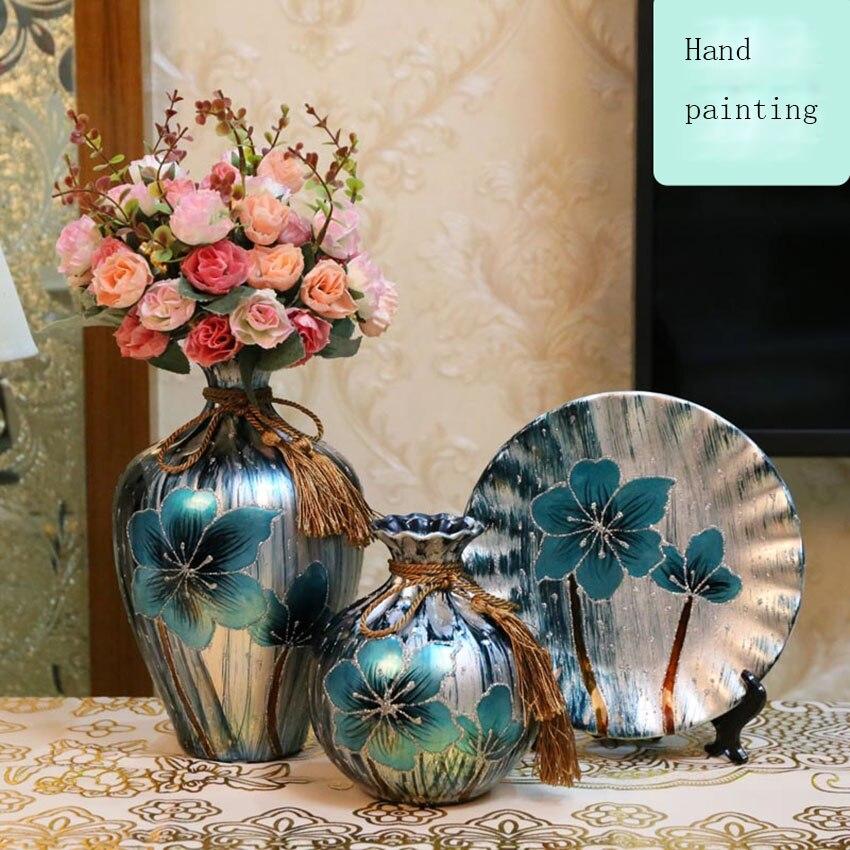 3 pcs/ensemble Nouveau Vase En Céramique Vase de style Européen creative Cadeaux De Mariage vases décoration maison Artisanat Articles D'ameublement