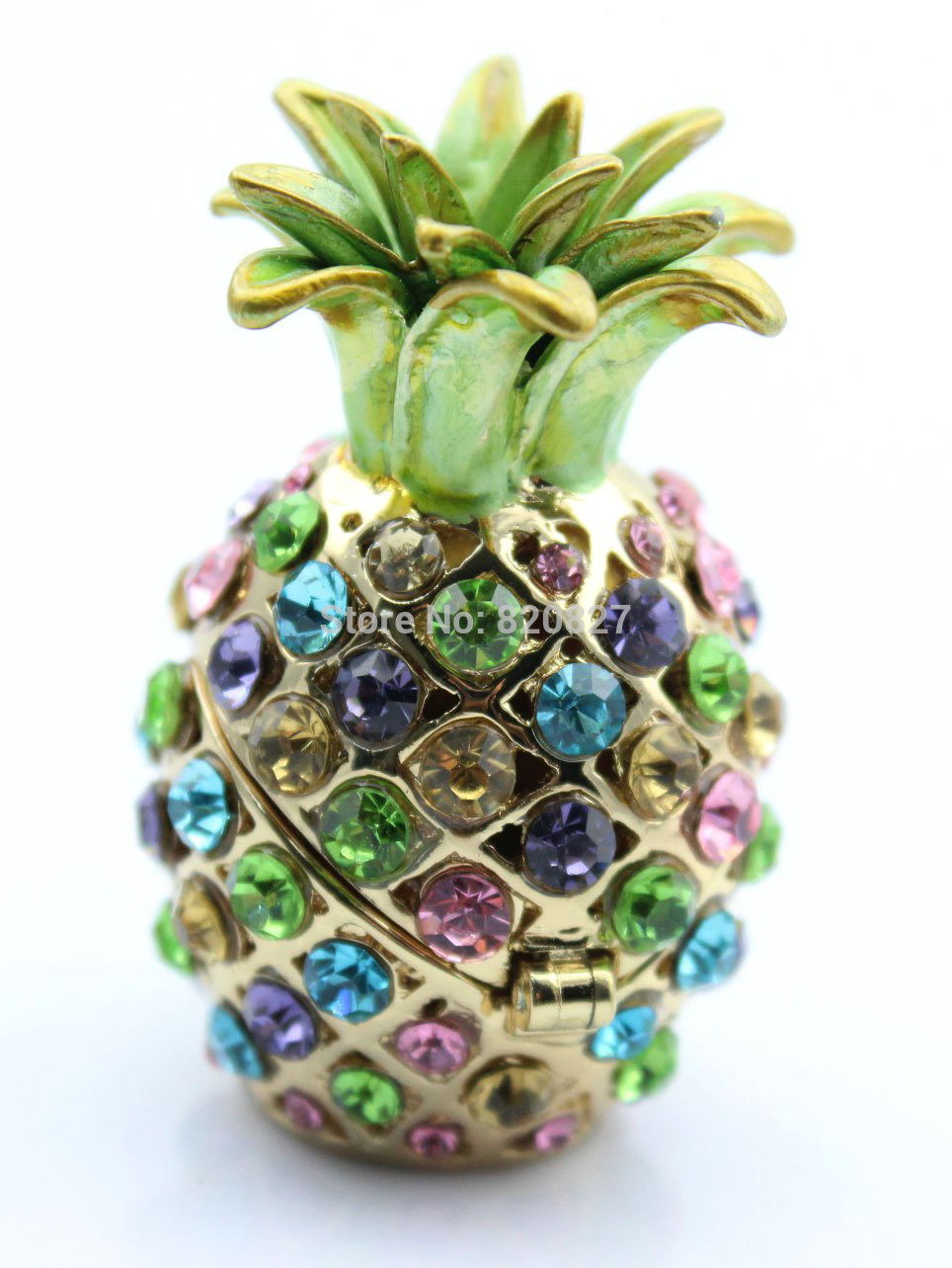 (Pack of 2) Gorgeous Miniature Pineapple Jeweled Trinket Box Jewelry Box with Crystal Stones, Pill Box Figurine
