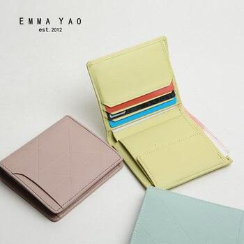 EMMA YAO genuine leather wallet female famous brand case fashion purse