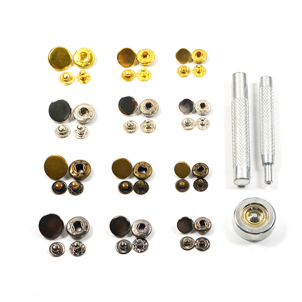 10pcs 15mm Mix 4 Colors Metal Snap Fasteners With Press Tool Poppers Press Stud Sewing Leather Button DIY in Buttons from Home Garden